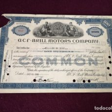 Collectionnisme Actions Internationales: 1946, ANTIGUA ACCIÓN AMERICAN, ACF - BRILL MOTORS COMPANY, NEW YORK, 30 X 19 CMS.. Lote 287069618