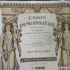 Collectionnisme Actions Internationales: 1925, ANTIGUA ACCIÓN FRANCESA, UNIÓN INMOBILIARIA, PARÍS, 32 X 44 CMS.. Lote 287072128