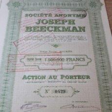 Coleccionismo Acciones Extranjeras: ACCION SOCIETE ANONYME JOSEPH BEECKMAN. Lote 289677158