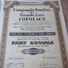 Coleccionismo Acciones Extranjeras: COMPAGNIE FONCIERE DES GRANDS LACS COFOLACS. Lote 289678768