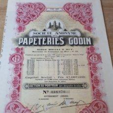 Coleccionismo Acciones Extranjeras: ACCION PAPETERIES GODIN. Lote 289680133