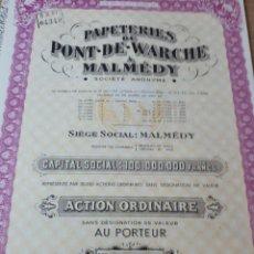 Coleccionismo Acciones Extranjeras: ACCIONPAPETERIES PONT DE WARCHE A MALMEDY. Lote 289680893