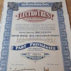 Coleccionismo Acciones Extranjeras: ACCION ELECTRO TRUST. Lote 289681013