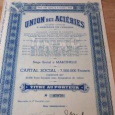 Coleccionismo Acciones Extranjeras: ACCION UNION DES ACIERIES. Lote 289681758
