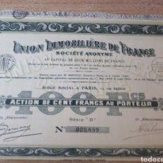 Coleccionismo Acciones Extranjeras: ACCION UNION IMMOBILIERE DE FRANCE. Lote 289682043