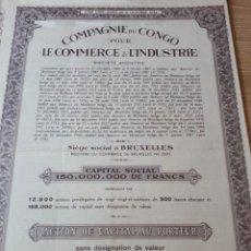 Coleccionismo Acciones Extranjeras: ACCION COMPAGNIE DU CONGO POUR LE COMMERCE & L INDUSTRIE. Lote 289682313