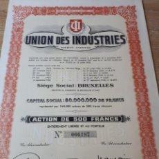 Coleccionismo Acciones Extranjeras: UNION DES INDUSTRIE. Lote 289682508
