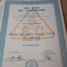 Coleccionismo Acciones Extranjeras: ACCION LES BOIS DU CAMEROUN. Lote 289682878