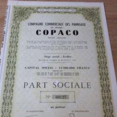 Coleccionismo Acciones Extranjeras: ACCION COMPAGNIE DES PANNEAUX EN ABREGE COPACO. Lote 289684143