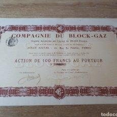 Coleccionismo Acciones Extranjeras: ACCION COMPAGNIE DU BLOCK GAZ. Lote 289684313