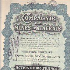 Coleccionismo Acciones Extranjeras: ACCION COMPAGNIE DE MINES ET MINERAIS 1926. Lote 290061648