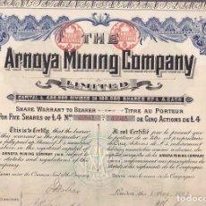 Coleccionismo Acciones Extranjeras: ACCION THE ARNOYA MINING COMPANY LONDRES 1907. Lote 290062588