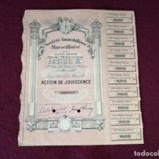 Colecionismo Ações Internacionais: ANTIGUA ACCIÓN, SOCIETE IMMOBILIERE MARSEILLAISE, MARSELLA, 1950´S. Lote 293279728