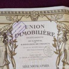 Colecionismo Ações Internacionais: ANTIGUA ACCIÓN, UNION IMMOBILIERE, PARÍS, 1925. Lote 293280948