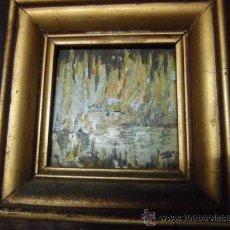 Arte: AZULEJO PINTURA ANTIGUA AL OLEO IMPRESIONISTA CON MARCO DORADO PRECEDE VALENCIA. Lote 35386742