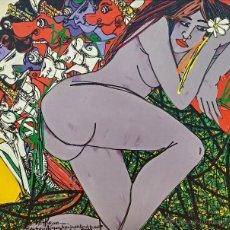 Arte: KRIJONO (INDONESIA 1951 - 2011), ARTISTA COTIZADO, BELLISIMA PINTURA (GRAN TAMAÑO) DESNUDO, FIRMADA. Lote 46492503