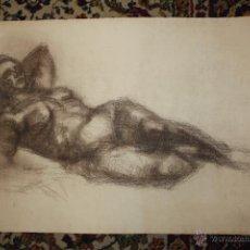 Arte: ANONIMO. DIBUJO A CARBON. DESNUDO FEMENINO. Lote 48528874
