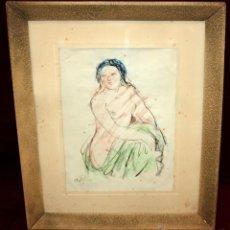 Arte: XAVIER VALLS (BARCELONA 1923-2006) TÉCNICA MIXTA SOBRE PAPEL FECHADO DEL AÑO 1949. DAMA SEMI DESNUDA. Lote 49764688