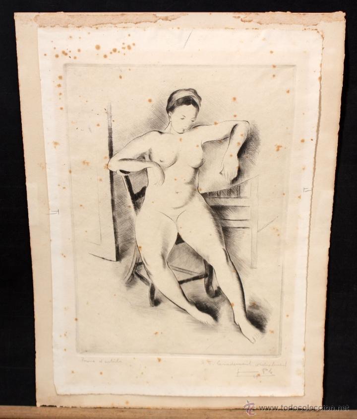 JAUME PLA PALLEJA (RUBÍ, 1914 - BCN, 1995) GRABADO FIRMADO A LAPIZ DEL AÑO 1949. DESNUDO FEMENINO (Coleccionismo para Adultos - Arte)