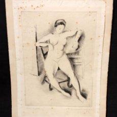 Arte: JAUME PLA PALLEJA (RUBÍ, 1914 - BCN, 1995) GRABADO FIRMADO A LAPIZ DEL AÑO 1949. DESNUDO FEMENINO. Lote 51374651