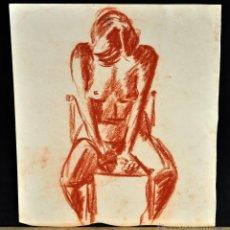 Arte: ANONIMO. DIBUJO A SANGUINA. DESNUDO FEMENINO. Lote 52995741