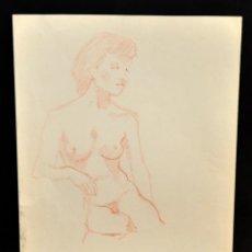 Arte: ANONIMO. DIBUJO A LAPIZ DE COLOR. DESNUDO FEMENINO. Lote 52996335