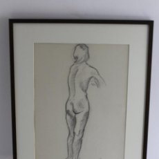 Arte: C- 205. DIBUJO AL CARBON.DESNUDO FIGURA FEMENINA. FIRMADO PS 1970.. Lote 53807874