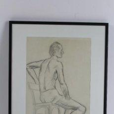 Arte: C- 206. DIBUJO AL CARBÓN , DESNUDO MASCULINO FIRMADO PS. SIGLO XX. Lote 53807931