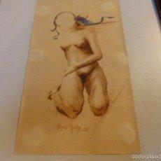 Arte: MUJER DESNUDA.13X22(SIN MARCO).FDO./MIGUEL MUÑOZ-1980. Lote 55367589