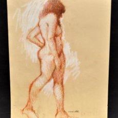 Arte: FIRMADO DOMINGO BENITO. DIBUJO A LÁPIZ GRASO. REPRESENTANDO UN DESNUDO FEMENINO. Lote 56144956