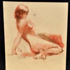 Arte: FIRMADO DOMINGO BENITO. DIBUJO A LÁPIZ GRASO. REPRESENTANDO UN DESNUDO FEMENINO. Lote 56144989