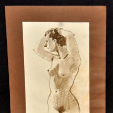 Arte: FIRMADO DOMINGO BENITO. DIBUJO A LÁPIZ GRASO. REPRESENTANDO UN DESNUDO FEMENINO. Lote 56145031