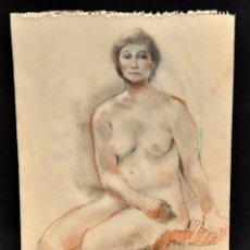 Arte: FIRMADO DOMINGO BENITO. DIBUJO A LÁPIZ GRASO. REPRESENTANDO UN DESNUDO FEMENINO. Lote 56145101