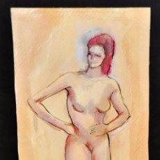 Arte: FIRMADO OLGA FIGUEROLA Y FECAHDO DEL AÑO 1994. TÉCNICA MIXTA SOBRE PAPEL. DESNUDO FEMENINO. Lote 56145632