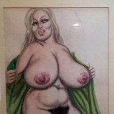 Arte: DIBUJO EROTICO ORIGINAL PASTEL DE LOS AÑOS 80 MOVIDA MADRILEÑA, UNA JOYA !!!!! . Lote 68226585