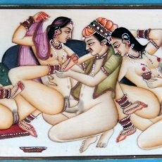 Arte: PINTURA EROTICA SOBRE PLACA DE MARFIL, RAJASTHAN , ESCENA INDIA , MIDE 8 X 15 CMS. ORIGINAL, C2. Lote 182312061