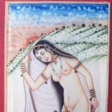 Arte: MINIATURA PINTURA EROTICA SOBRE PLACA DE MARFIL RAJASTHAN ESCENA INDIA ORIGINAL C2. Lote 204085178