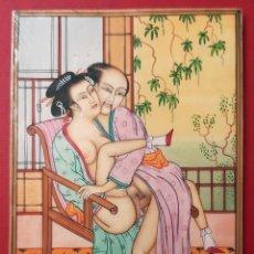 Arte: MINIATURA PINTURA EROTICA SOBRE PLACA DE MARFIL RAJASTHAN ESCENA JAPONESA ORIGINAL C2. Lote 204085387