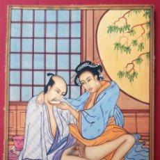 Arte: MINIATURA PINTURA EROTICA SOBRE PLACA DE MARFIL RAJASTHAN ESCENA JAPONESA ORIGINAL C2. Lote 204085431