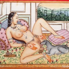 Arte: MINIATURA PINTURA EROTICA SOBRE PLACA DE MARFIL RAJASTHAN ESCENA INDIA 9 X 13,50 CM ORIGINAL C2. Lote 210674101