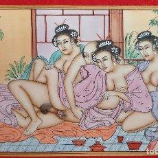 Arte: MINIATURA PINTURA EROTICA SOBRE PLACA DE MARFIL RAJASTHAN ESCENA JAPONESA 9,50 X 16,50 CMORIGINAL C2. Lote 210674616