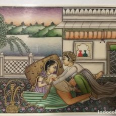 Arte: PINTURA EROTICA SOBRE PLACA DE MARFIL RAJASTHAN 10.5 CM X 8 CM. Lote 233680025