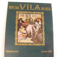 Calendarios: CALENDARIO PUBLICIDAD : PAPELERÍA VILA - VALENCIA. ILUSTRACIÓN: CHICAS DE MASALFASAR. ORIGINAL ÉPOCA. Lote 30551544