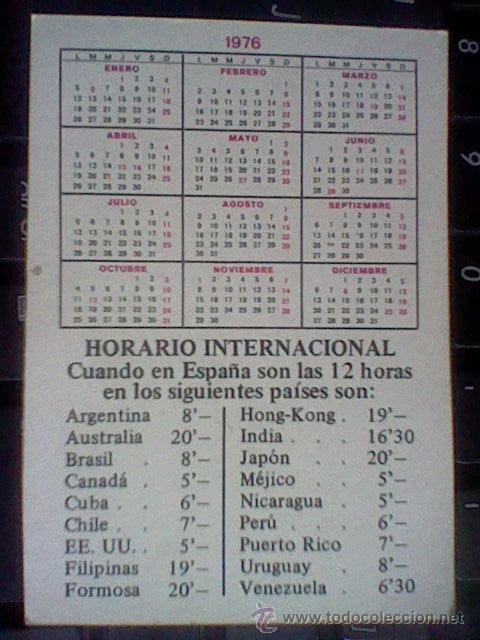 Calendario 1976 Argentina.Chicas Calendario 1976 Trasera Tabla Horario Internacional