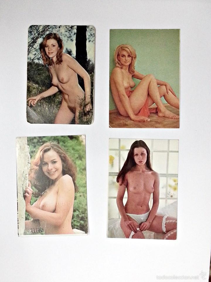LOTE DE 4 CALENDARIOS DE BOLSILLO EROTICOS DE 1977 (Coleccionismo para Adultos - Calendarios)