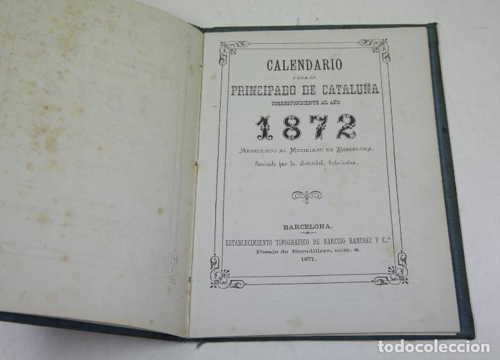Calendarios: Calendario para el principado de Cataluña, 1872, Barcelona. 13,5x18cm - Foto 2 - 111320307