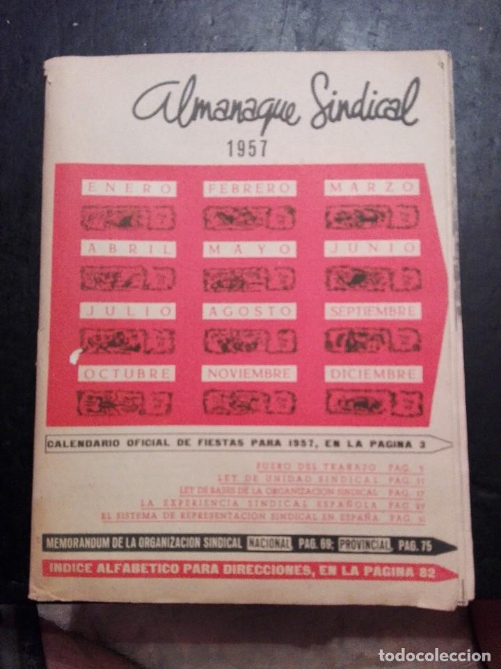 ANTIGUO ALMANAQUE SINDICAL 1957 (Coleccionismo para Adultos - Calendarios)