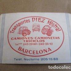 Calendarios: CALENDARIO DE BOLSILLO - PUBLICIDAD DE TRANSPORTES DIEZ MISTRAL, CAMIONES Y CAMIONETAS - 1966. Lote 153592266