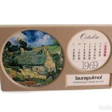 Calendarios: CALENDARIO 1969. PINTORES IMPRESIONISTAS. LABORATORIOS HOSBON. CON SOPORTE DE PLÁSTICO. Lote 165849318