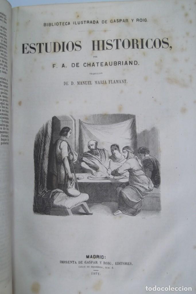 Libros: ¡¡ VIAJES A ITALIA Y AMERICA , + 2 OBRAS F. A. CHATEAUBRIAND . AÑO 1871 !! - Foto 3 - 180238446